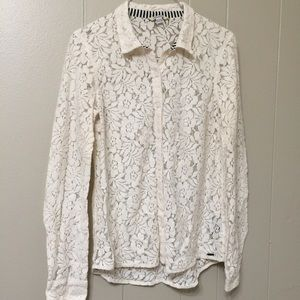Volcom Womens Lace Button Down Top XS Long Sleeve